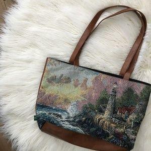 Thomas Kinkade Light of Peace Tapestry Tote Bag for sale